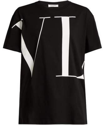 Valentino Wraparound Logo Print Cotton T Shirt - Womens - Black