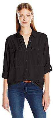 Calvin Klein Jeans Women's Long Sleeve Utility Garment Dye Shirt $26.80 thestylecure.com