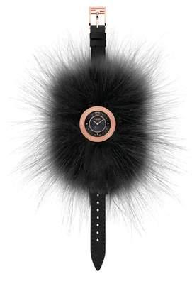 Fendi My Way Genuine Fox Fur Leather Strap Watch, 28mm