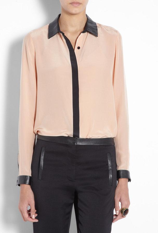 Tibi Blush Leather Trim Silk Shirt