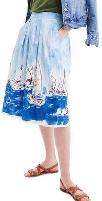 J.Crew J. CREW Painted Regatta Midi Skirt