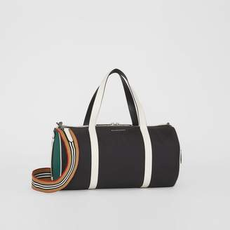 Burberry Medium Tri-tone Nylon and Leather Barrel Bag, Black