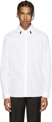 Neil Barrett White Poplin Tunderbolt Shirt $365 thestylecure.com