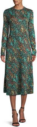 M Missoni Metallic Animal-Print Long-Sleeve Dress