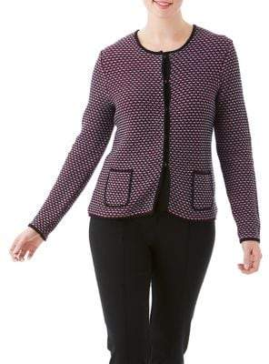 Olsen Snap-Button Jacquard Cardigan