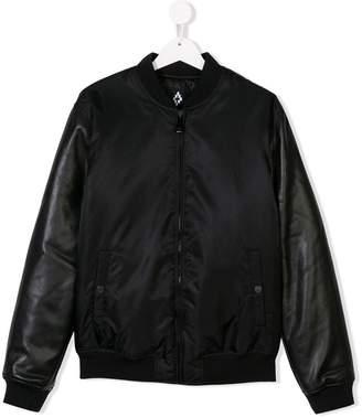 Marcelo Burlon County of Milan Kids TEEN faux leather sleeve bomber jacket