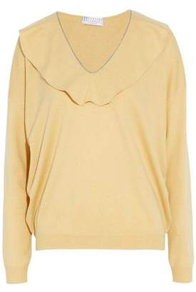 Brunello Cucinelli Ruffle-Trimmed Bead-Embellished Cashmere Sweater
