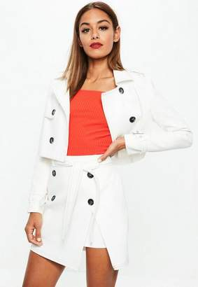 Missguided White Cropped Contrast Stitch Jacket