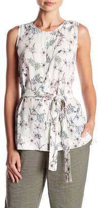 Vince Camuto Botanical Floral Tie Waist Tank Top