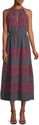Robert Rodriguez Sleeveless Halter Mixed-Print Midi Dress