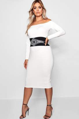 boohoo Plus Embellished Waist Bardot Dress