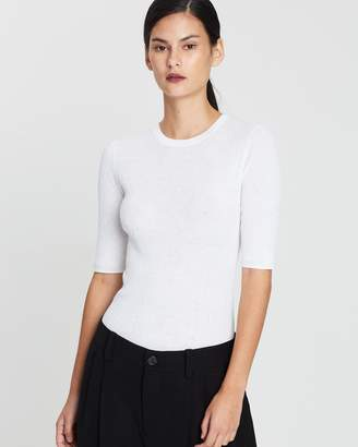 Vince Broomstick Pleat Elbow Sleeve Top