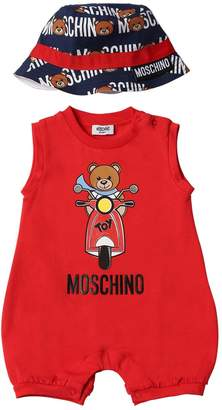 Moschino Cotton Jersey Romper & Satin Hat