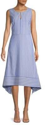 Karl Lagerfeld Paris Striped High-Low A-Line Dress