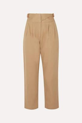 Loewe Leather-trimmed Herringbone Cotton Straight-leg Pants - Beige