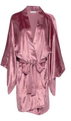Fleur Du Mal Silk-Trimmed Velvet Robe