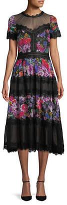 Tadashi Shoji Floral Chiffon Lace Midi Dress