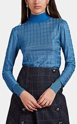 Chloé Women's Grid-Pattern Jacquard Turtleneck Sweater - Blue