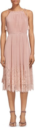 Whistles Lilian Pleated Lace-Trim Dress $499 thestylecure.com