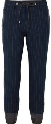 Sacai Pinstriped Twill And Checked Wool Tapered Pants - Navy