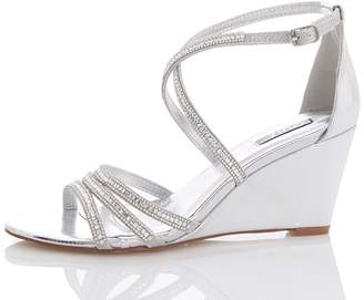 Quiz Silver Metallic Cross Strap Wedge Heels