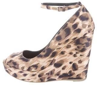 Stella McCartney Satin Leopard Print Wedge Pumps