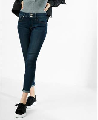 Express dark wash stretch+ performance cropped jean leggings