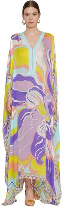 Emilio Pucci PRINTED GAUZE SILK & COTTON CAFTAN DRESS