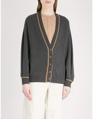Brunello Cucinelli Bead-embroidered fine-knit cashmere cardigan