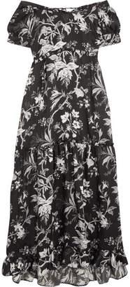 McQ Off-the-shoulder Open-back Printed Satin-twill Midi Dress - Black