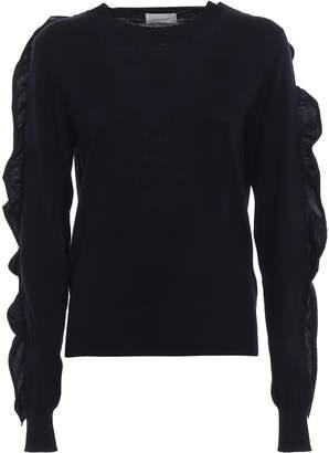 Dondup Ruched Polka Dot Merino Wool Sweater