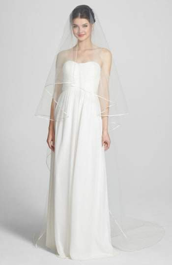 WEDDING BELLES NEW YORK 'Mable' Two-Tier Satin Trim Cathedral Veil