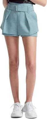 Maje Ikar Overlay Detail Belted Cotton Tweed Shorts