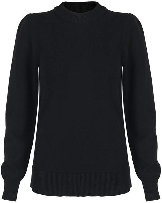 Brush Gathered Sleeve Black Jumper