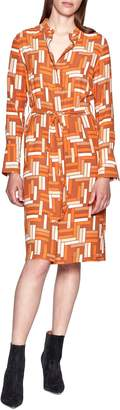 Equipment Roseabelle Geo Print Long Sleeve Tie Waist Shirtdress