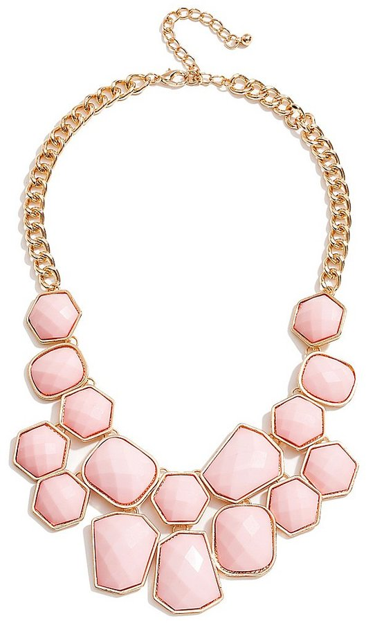 GUESS Pink Faceted Stone Statement Necklace