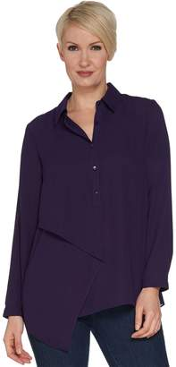 Joan Rivers Classics Collection Joan Rivers Flowy Tunic w/ Draped Front Panel