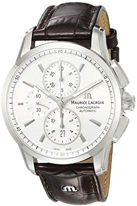 Maurice Lacroix Men's 'Pontos' Swiss Automatic Stainless Steel and Leather Casual Watch