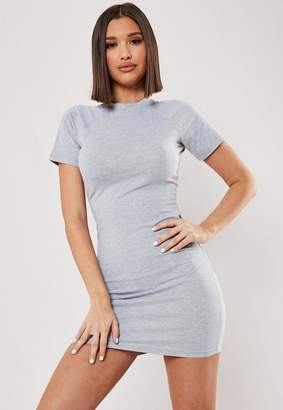 Missguided Gray Raglan High Neck Bodycon Mini Dress