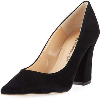 Neiman Marcus Causey Chunky-Heel Suede Pumps
