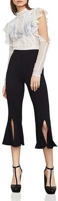 BCBGMAXAZRIA Voletta Rib-Knit Cropped Flared Pants