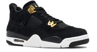 ffa64f1e09c3 Jordan Nike Kids Air 4 Retro BG Black Metallic Gold White Basketball Shoe  Kids US