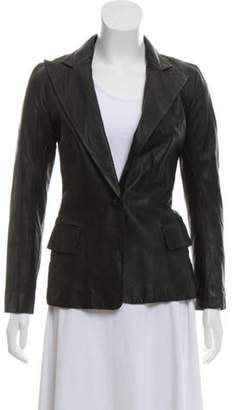 Balmain Leather Peaked-Lapel Blazer Black Leather Peaked-Lapel Blazer