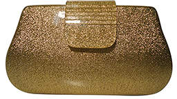 Kardashian Kollection Resin Hardcase Clutch Gold