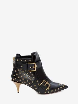 Alexander McQueen Double Buckle Horn Heel Boot