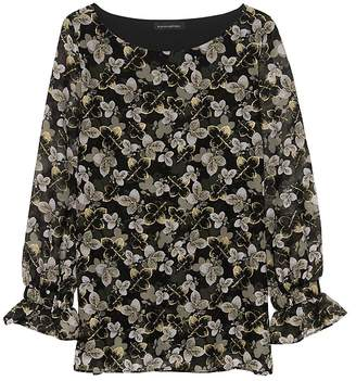 Banana Republic Petite Leaf Print Poet-Sleeve Top