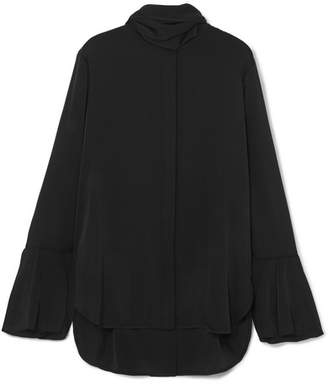 Ellery Nouveau Pussy-bow Stretch-silk Satin Blouse - Black