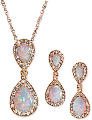 Macy's 2-Pc. Set Lab-Created Opal (2-1/6 ct. t.w.) & White Sapphire (5/8 ct. t.w.) Pendant Necklace & Matching Drop Earrings in 14k Rose Gold-Plated Sterling Silver