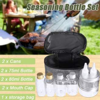 Kadell Seasoning Bottles, Cans Outdoor Camping Food Preserving Storage Containers Kitchen Mini Square Round Glass Spice Jar with Copper Swing Top Hermetic Airtight Locking Lid Barbecue