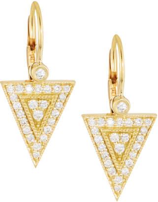 Penny Preville 18K Gold Diamond Medium Triangle Drop Earrings